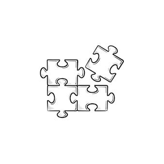 Головоломка рисованной наброски каракули значок. кусок головоломки эскиз векторные иллюстрации для печати, интернета, мобильных устройств и инфографики, изолированные на белом фоне.