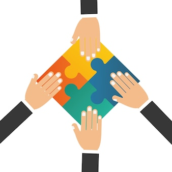 Puzzle hand teamwork support design
