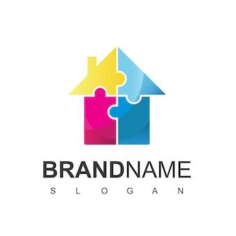Puzzle house logo design vector
