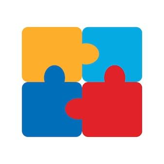 パズルアイコン。 4ピースのパズルデザイン。白い背景で隔離のフラットベクトルイラスト