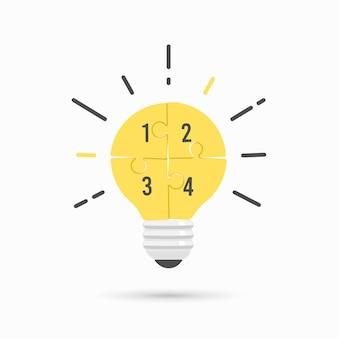 Puzzle idea lightbulb.