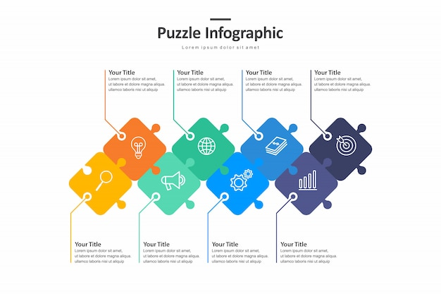 Puzzle infographic with step, graph to describe the steps