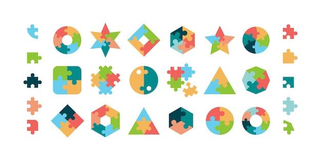 パズル。ジグソーパズルは、さまざまな幾何学的な形の円形および正方形のパズルパーツのベクトルコレクションをピースします。イラストジグソーパズルゲーム、チームワークのコンセプト