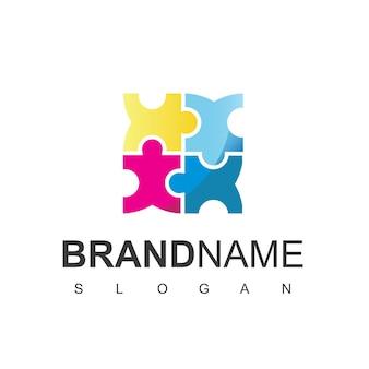 Puzzle logo, team work symbol