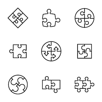 Puzzle piece line icons pack