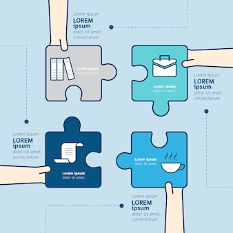 Puzzle piece with hand infographic template business concept