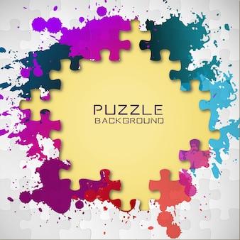 퍼즐 조각과 화려한 페인트 밝아진