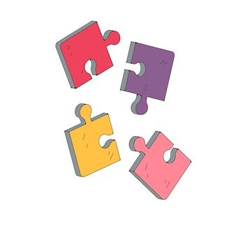 白い背景の上のパズルのピースイラストベクトル。