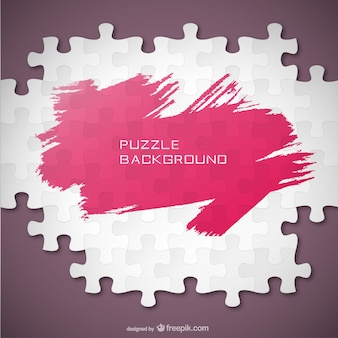 Puzzle pieces and pink brush stroke