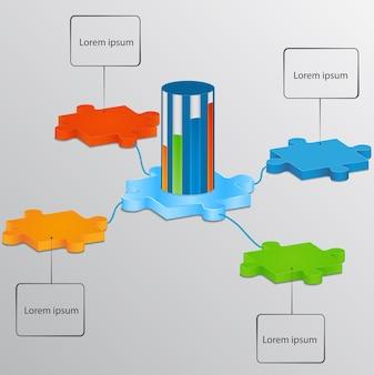 Кусочки головоломки со шкалой роста. элементы инфографики.
