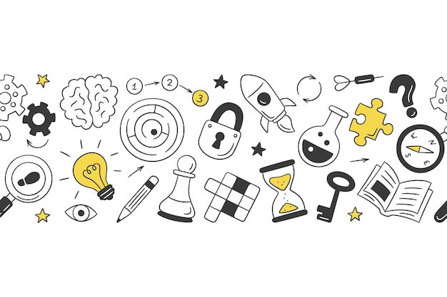 Puzzle and riddles. hand drawn horizontal pattern with crossword puzzle, maze, brain, chess piece, light bulb, labyrinth, gear, lock and key.