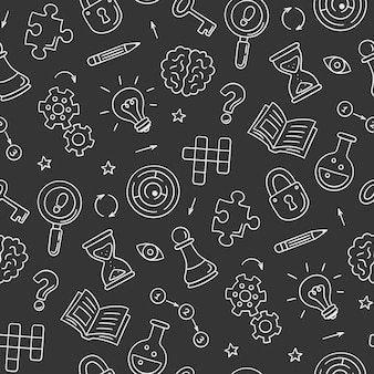 Puzzle and riddles. hand drawn seamless pattern with crossword puzzle, maze, brain, chess piece, light bulb, labyrinth, gear, lock and key. doodle style on chalkboard