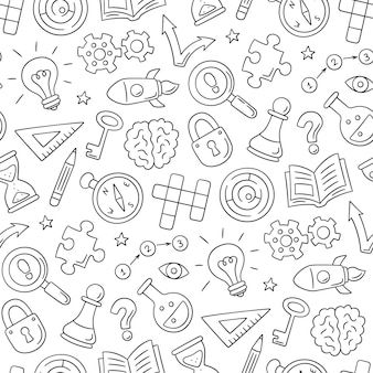 Puzzle and riddles. hand drawn seamless pattern with crossword puzzle, maze, brain, chess piece, light bulb, labyrinth, gear, lock and key.