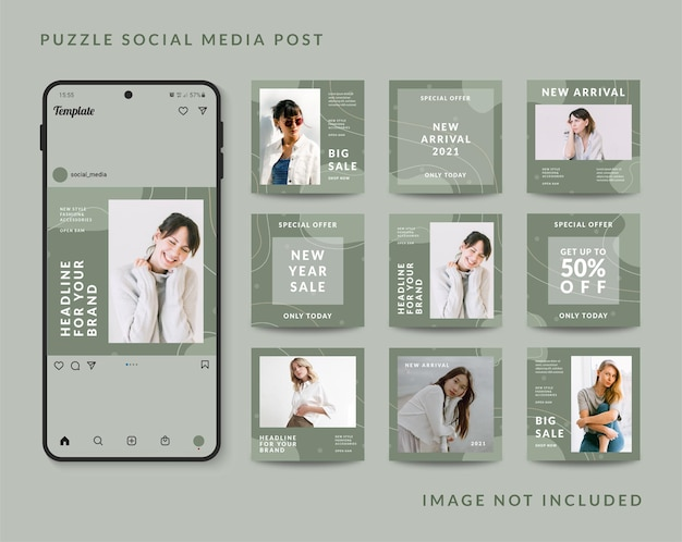 Шаблон сообщения в социальных сетях головоломки
