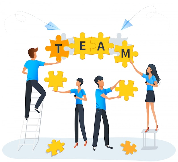 Концепция совместной работы бизнес головоломки, команда на работе, люди, соединяющие элементы головоломки