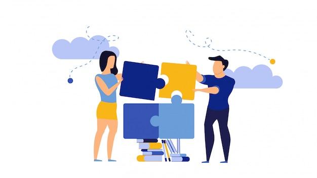チームワークの男性と女性のビジネスパートナーシップコミュニケーションをパズルします。書籍のコンセプトで働く人々