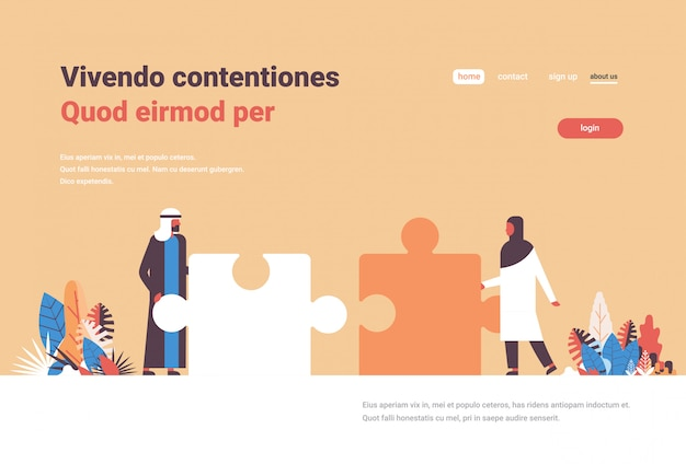 Puzzle theme landing page with arabic people