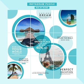 Puzzle traveling web banner for social media