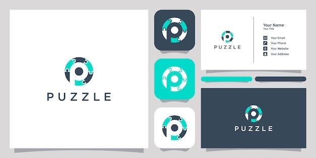 ネガティブスペース文字pロゴアイコンシンボルテンプレートロゴと名刺でパズル