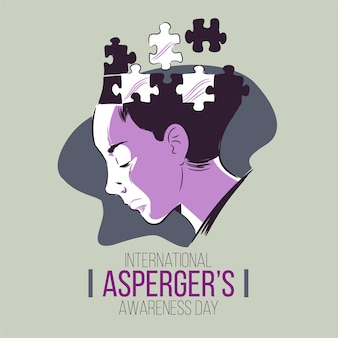 Puzzled mind aspergers awareness day hand drawn