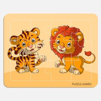 かわいいライオンとトラの漫画と正方形グリッドのパズルテンプレート。