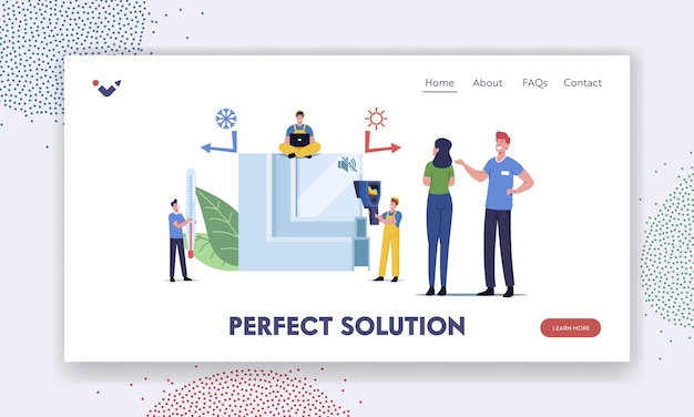 Pvc window profile installation process landing page template. tiny characters at huge piece of vinyl frame with thermometer measuring temperature of glass surface. cartoon people vector illustration