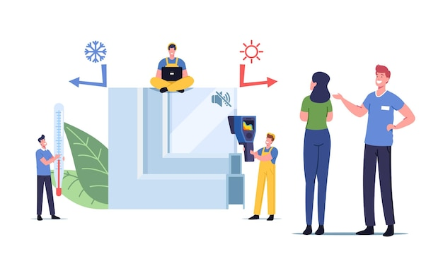 Pvc window profile installation process. tiny characters at huge piece of vinyl frame with thermometer and instrument for measuring temperature of glass surface. cartoon people vector illustration