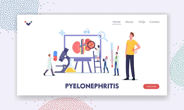 Pyelonephritis landing page template. tiny doctors nephrologist characters diagnosing and consult patient with kidney renal disease, urine test, hospital diagnostic. cartoon people vector illustration