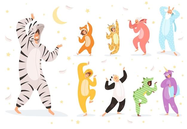 잠옷 캐릭터. 행복한 아이들과 밤 섬유 의상에서 노는 부모 그림 의상 동물, 재미있는 소녀와 소년 잠옷