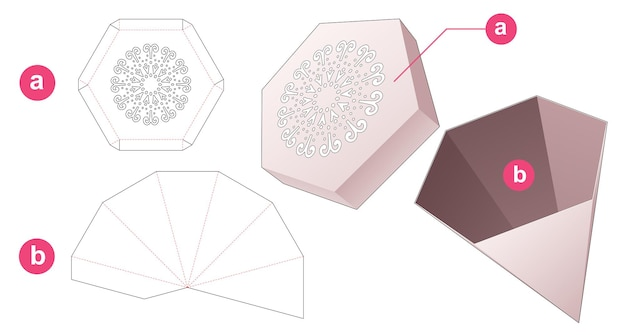 Пилон шестиугольной коробки и крышки с высеченным шаблоном мандалы по трафарету