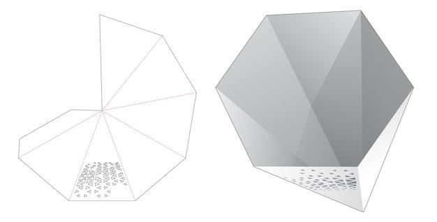 스텐실 삼각형 다이 컷 템플릿이있는 철탑 모양의 그릇