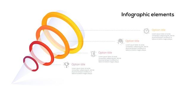 オプションサークル付きのピラミッド4ステッププロセスチャートインフォグラフィック。じょうごビジネスワークフロー階層要素。会社のプレゼンテーションスライドテンプレート。現代のベクトル情報グラフィックレイアウトデザイン。