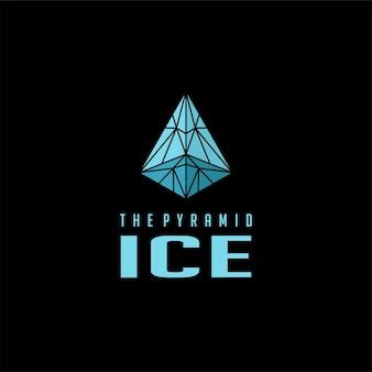 피라미드 블루 크리스탈 아이스 심볼 로고 디자인