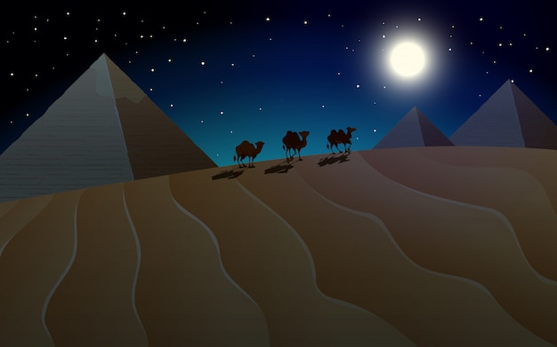 Pyramid and camel scene at night