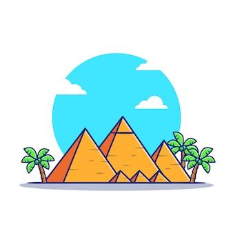 Пирамида мультфильм значок иллюстрации. известное здание путешествия значок концепции изолированы. плоский мультяшном стиле