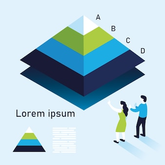 Pyramid chart infographic with woman and man, data information and analytics theme illustration