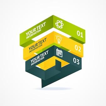 옵션이있는 피라미드 차트 아이소 메트릭 템플릿. 컨셉 개발