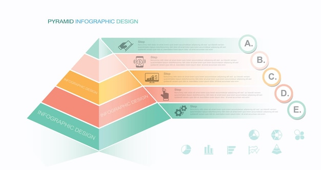 Pyramid chart triangle diagram sign business infographic with five hierarchy levels or steps