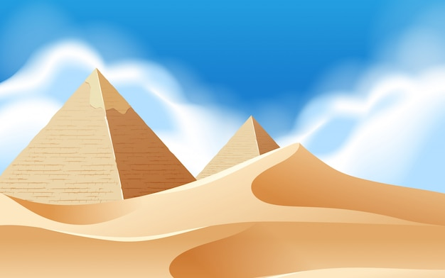 Pyramid desert background scene