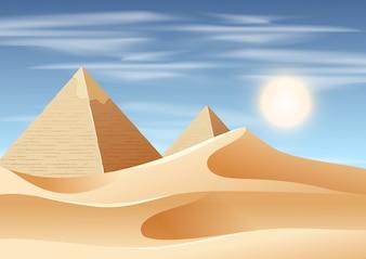 Pyramid desert landscape scene