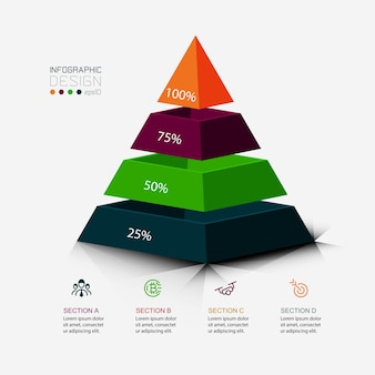 The pyramid design is used to present your work and display it as a percentage. infographic.