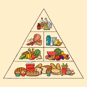 Pyramid of healthy food infographic