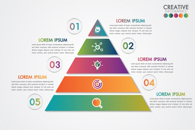 Pyramid infographics colorful template with 5 steps or options concept.