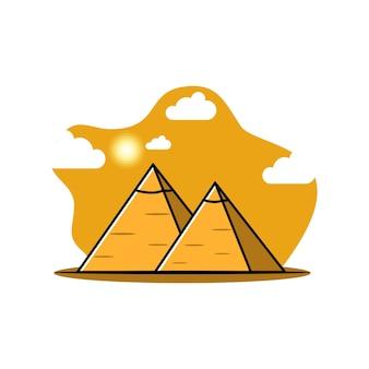 Pyramid landmark logo illustration  design