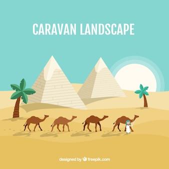 Pyramid landscape with caravan