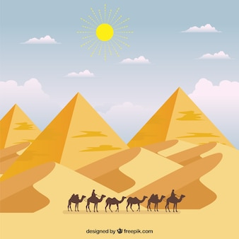 Pyramid landscape with caravan