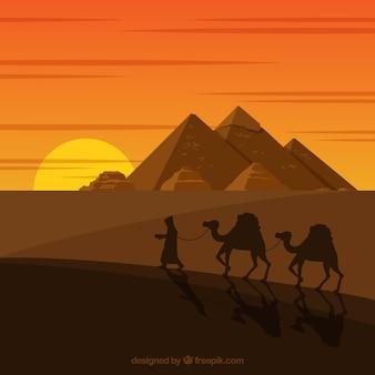 캐러밴으로 피라미드 풍경