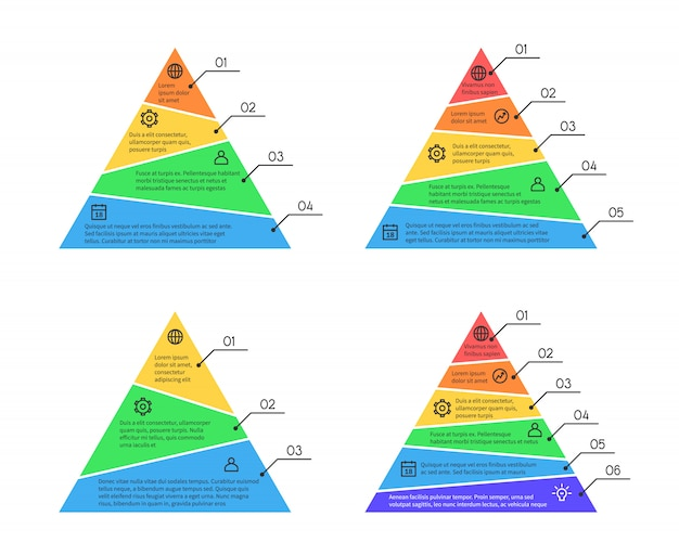 Pyramid, layers chart infographic vector elements