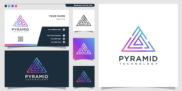 Pyramid logo with triangle line art technology style and business card design template
