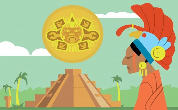 Pyramid maya, chief of tribe maya. mayan.